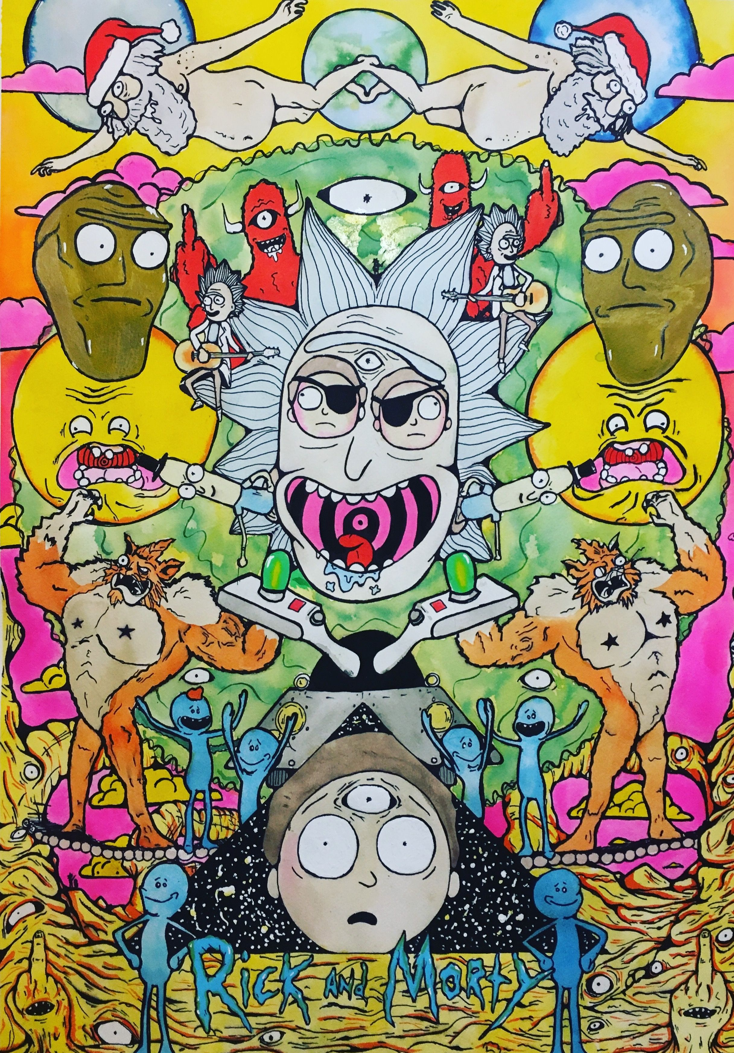 Rick And Morty Tribute Rick And Morty Poster Trippy Backgrounds Rick And Morty Drawing Iphone trippy rick and morty wallpaper