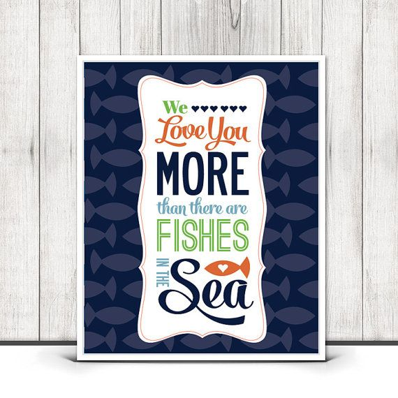 Items similar to nursery decor print set personalized baby announcement print we love you more than there are fishes in the sea nursery wall art on