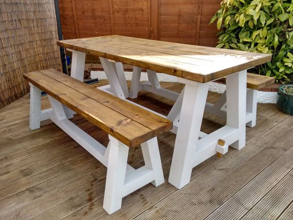 Farmhouse garden table and benches solid pine A frame trestle