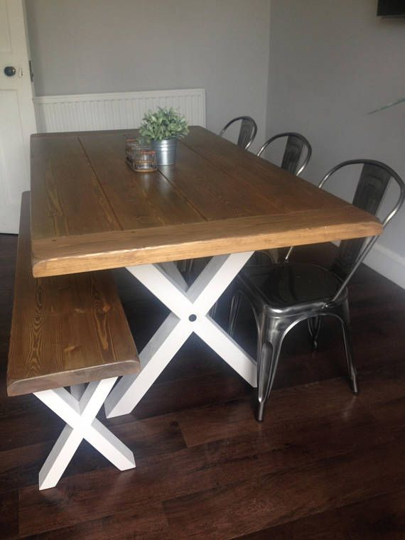 Solid Thick Wood Farmhouse Table And Or Benches Cross X Legs You Choose The Colour And Size Farmhouse Table Table Home N Decor