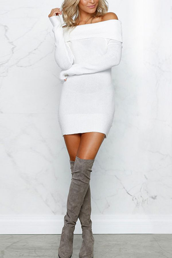 Vestido estilo suéter ombro a ombro