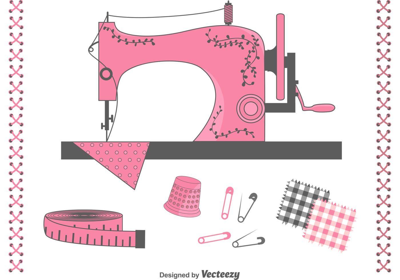 Elementos de costura de vector libre establecido con cosecha de la ...
