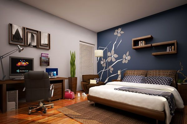 Painting One Wall Impressive With Blue Accent Wall Bedroom Picture