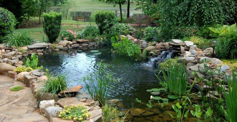 Bevorzugt Gartenteich selber bauen mit einem natürlichen Look und Wasserfall IB85