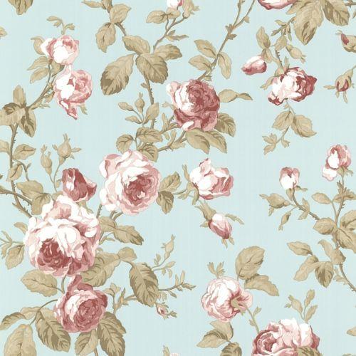 Smita Claremont Vinyltapete 68703 Rot Rosa MINT Braun Tapete Landhaus Rosen  DEKO
