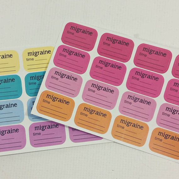 Half box migraine tracker stickers for planners calendars or diaries made to order