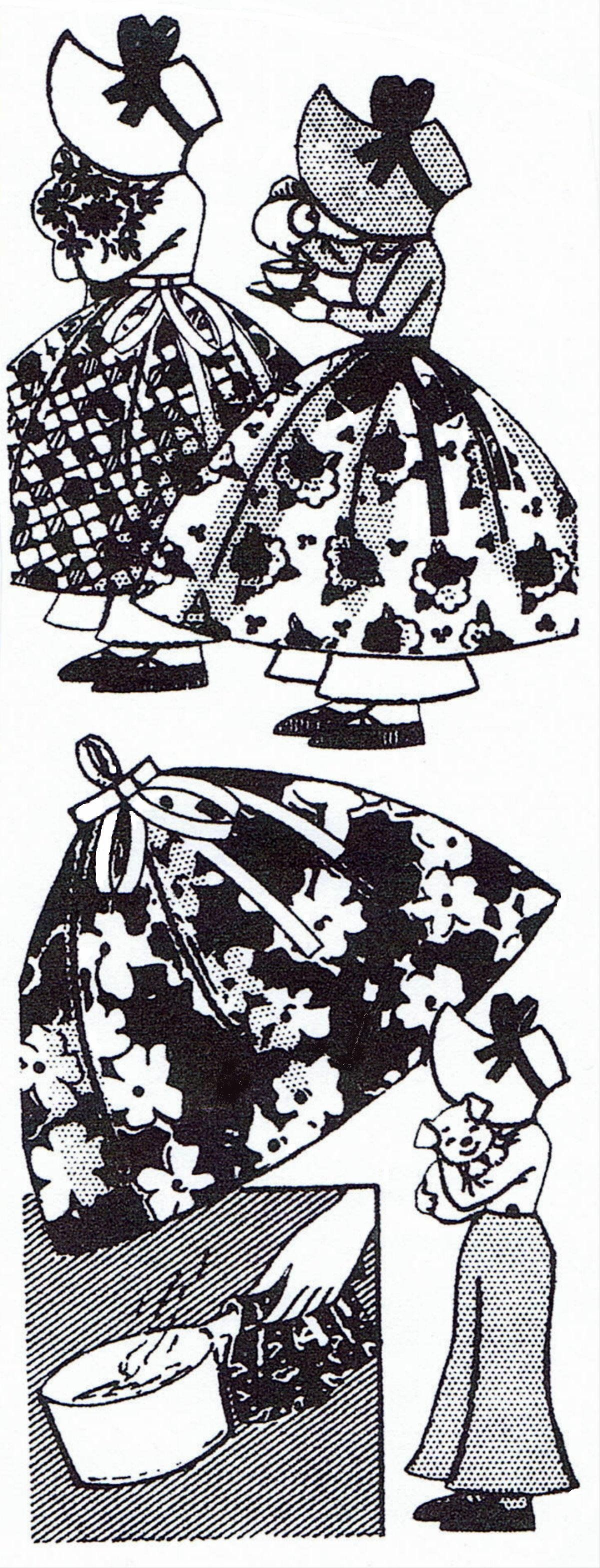 Pattern Peddler: 518 Vintage Mail Order Adorable Sun Bonnet Sue Pot Holders Craft Fabric Material Sewing Pattern #sunbonnetsue