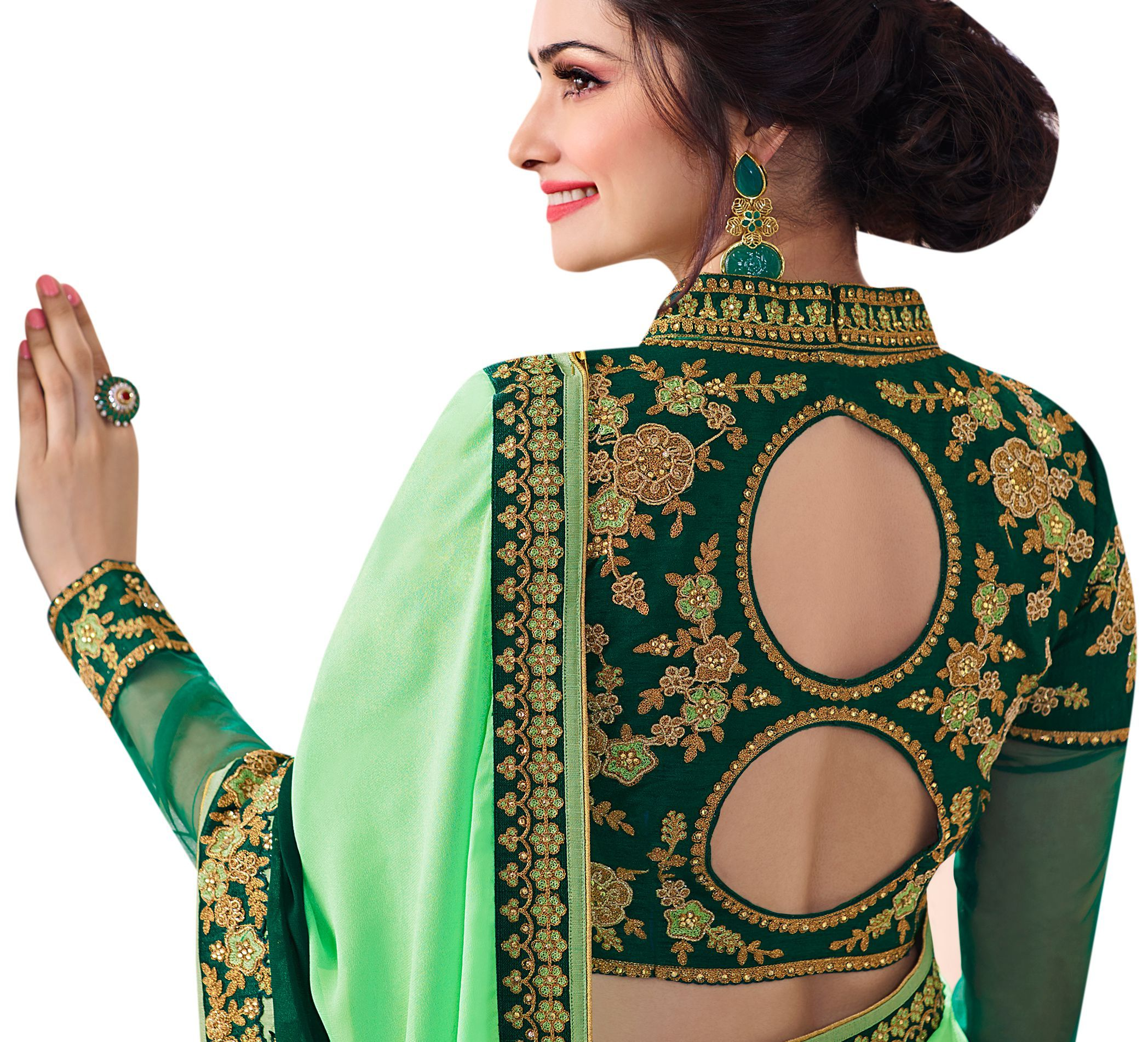 6a4eacbfbc251 Light Green Embroidered Party Wear Saree in 2019