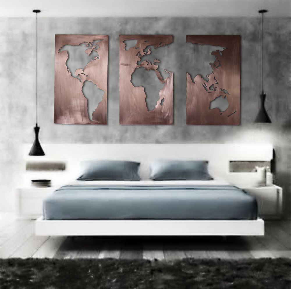 Stunning brushed copper oversized three panel map of the world