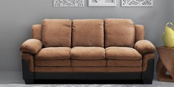 Rio Three Seater Sofa In Brown Colour By Royal Oak Three Seater Sofa Wooden Sofa Set Fabric Sofa Cover