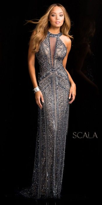 Plunging Illusion Open Back Sequin Prom Dress by Scala  edressme d8a24a045