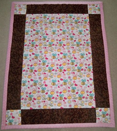 Completed Baby Quilt, With Pull-over Fleece Binding