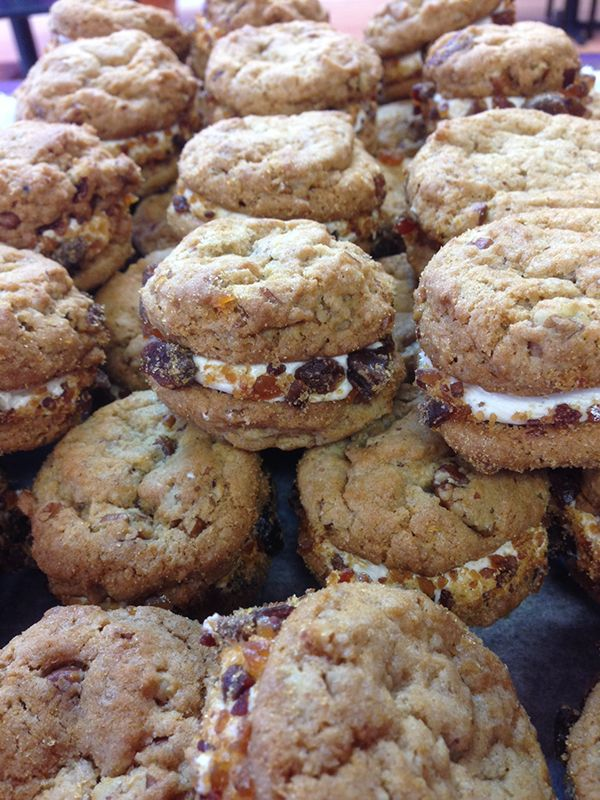 Maple pecan cookies with candied bacon.