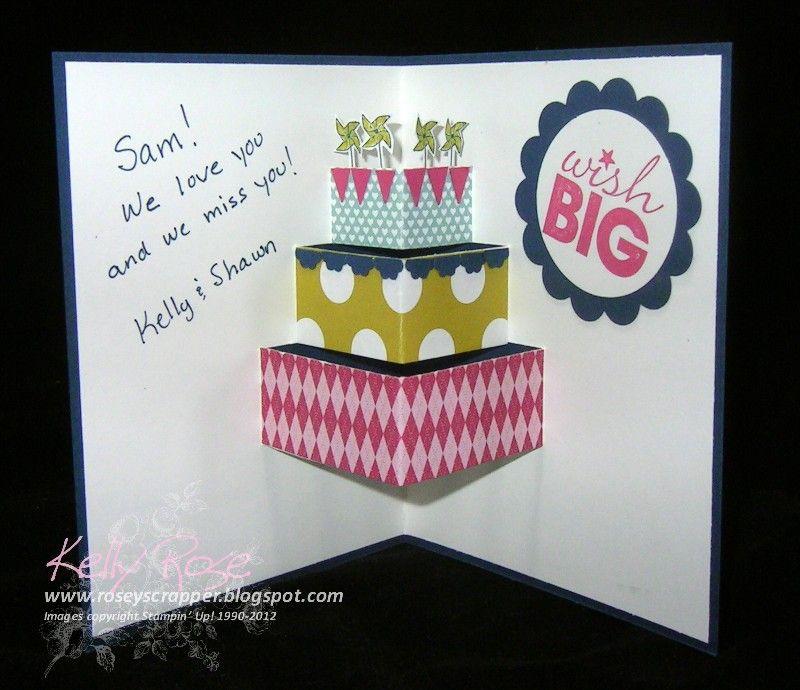 Kelly Rose Independent Stampin Up Demonstrator Make a Cake Pop – Pop Up Birthday Cake Card