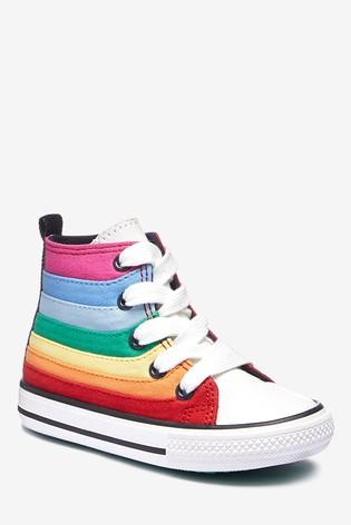 Rainbow Stripe High Top Trainers