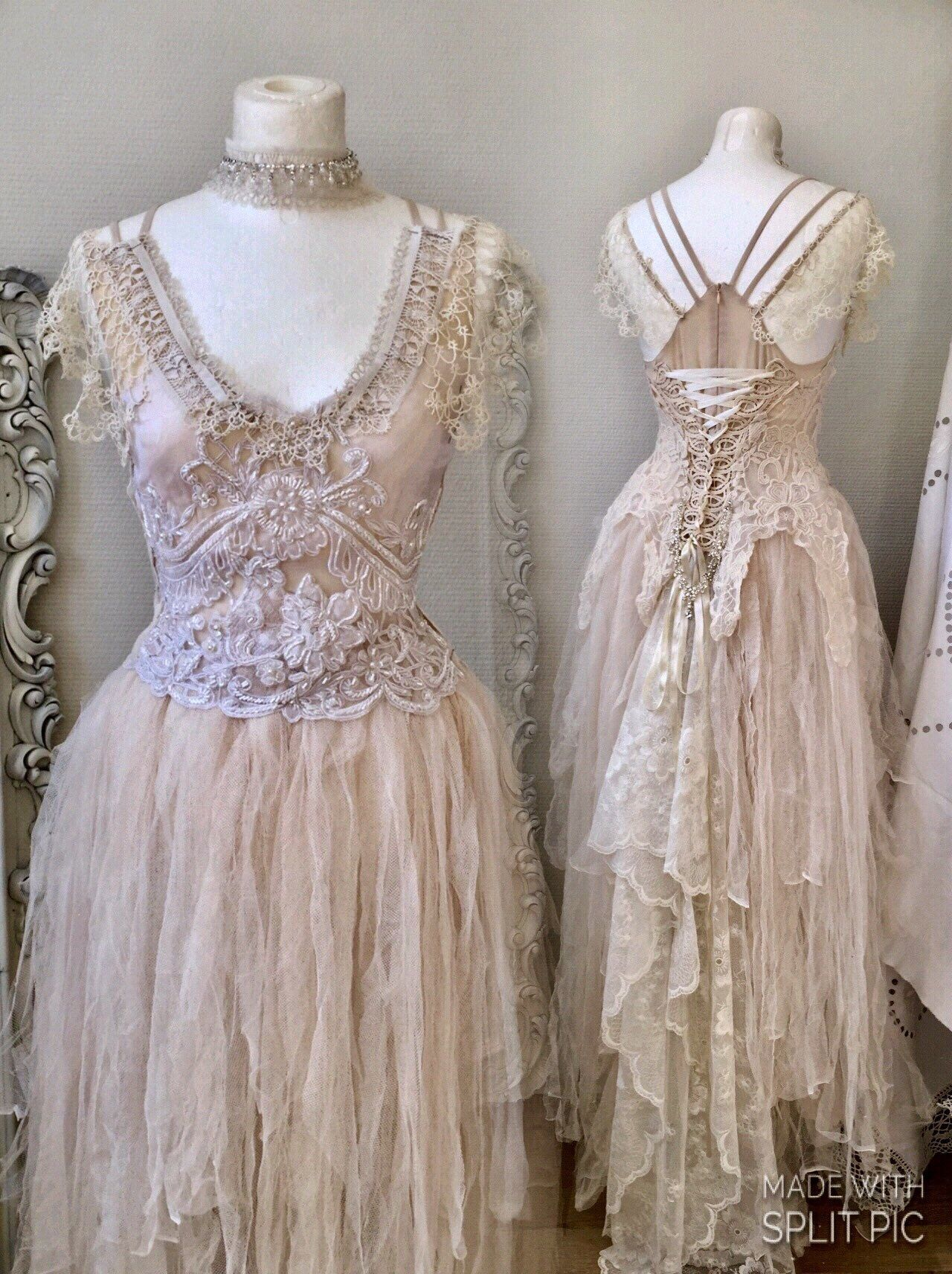 Wedding dress vintage inspiredbridal gown fairyboho wedding dress