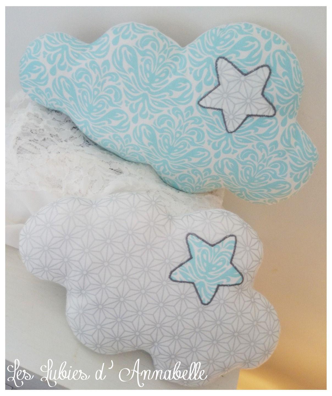 Duo de Coussins nuage broderie étoile  tissu brillant argenté Personnalisable
