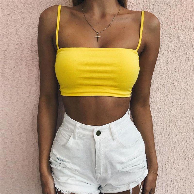 9ee53a1d055c4 Women s Spaghetti Strap Tank Top Crop Cami Bra No Pad Bandeau Bra In Yellow