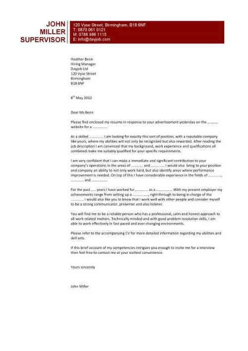 Highly popular cover letter design that uses a pages white space – Job Application Covering Letter