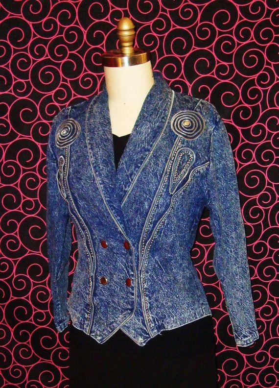 Vintage 1980s Acid Washed Tailored Jean Jacket with Zipper and Stud Details - Medium Large via Etsy