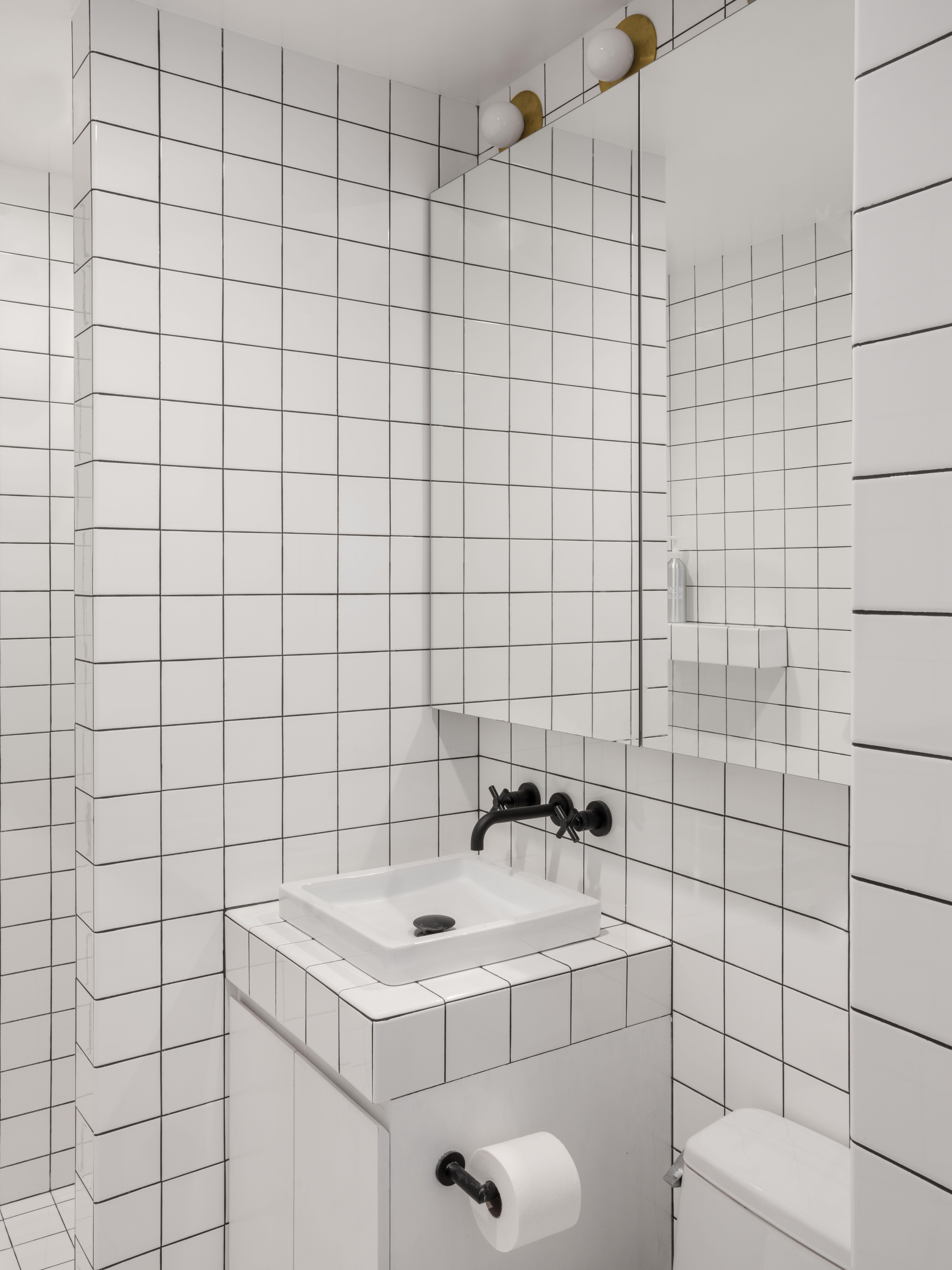 Two Graphic Bathroom Tile Ideas Courtesy Of Tali Roth Bathroom Red White Bathroom Tiles Graphic Tile Bathroom