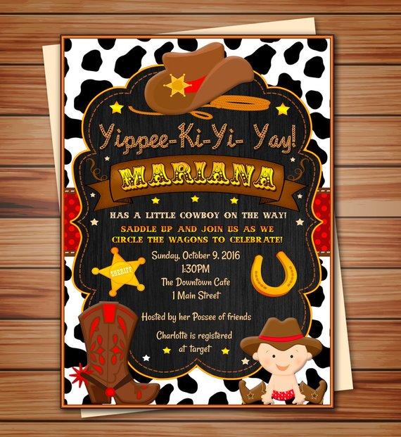 Personalized Invitations Cowboy Baby Shower Digital Chalkboard Invitation Thank