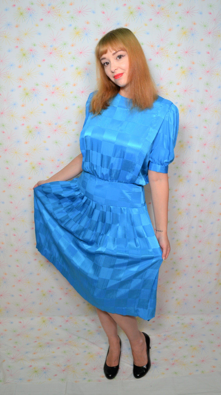 80s Turquoise Blue Dress Size Small Button Back Shirtwaist Dress