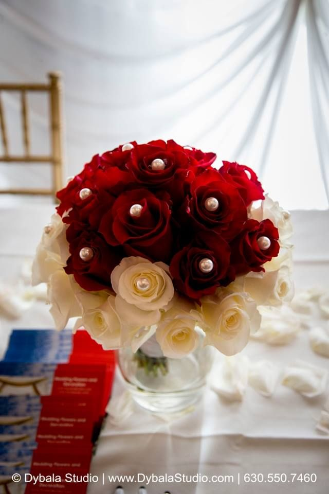 indian wedding ~ bridal bouquet ~ red white roses ~ pearls ~ petals ~ wedding flowers Chicago ~ www.flowersbygeo.com