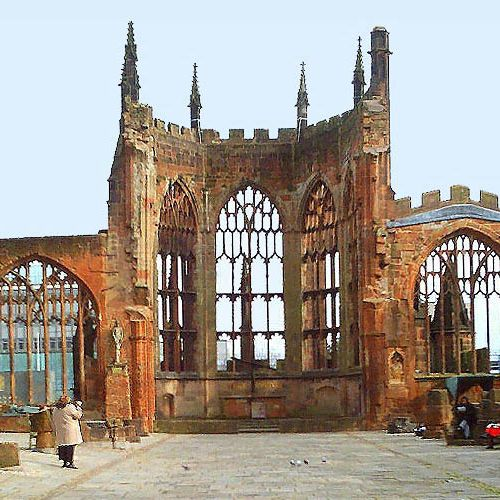 Places To Visit Coventry Uk: Coventry Cathedral, Coventry, England. Ruins Of Bombed Out