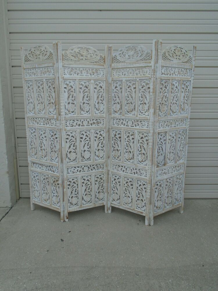 Moroccan Screen Room Divider Indian Carved Wood 4 Panels