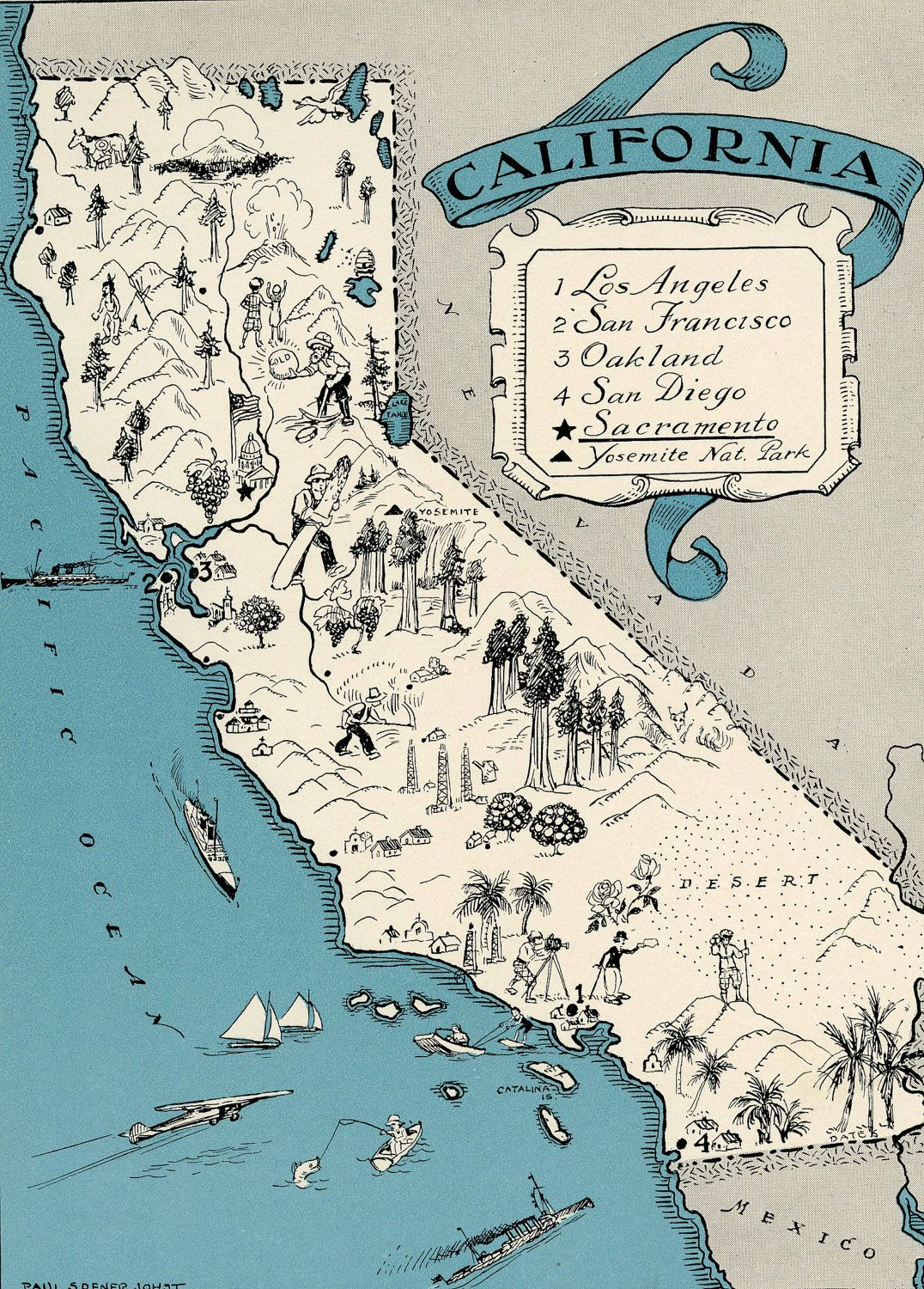 ORIGINAL California Map  Vintage Picture Map Antique Map - Map usa beaches