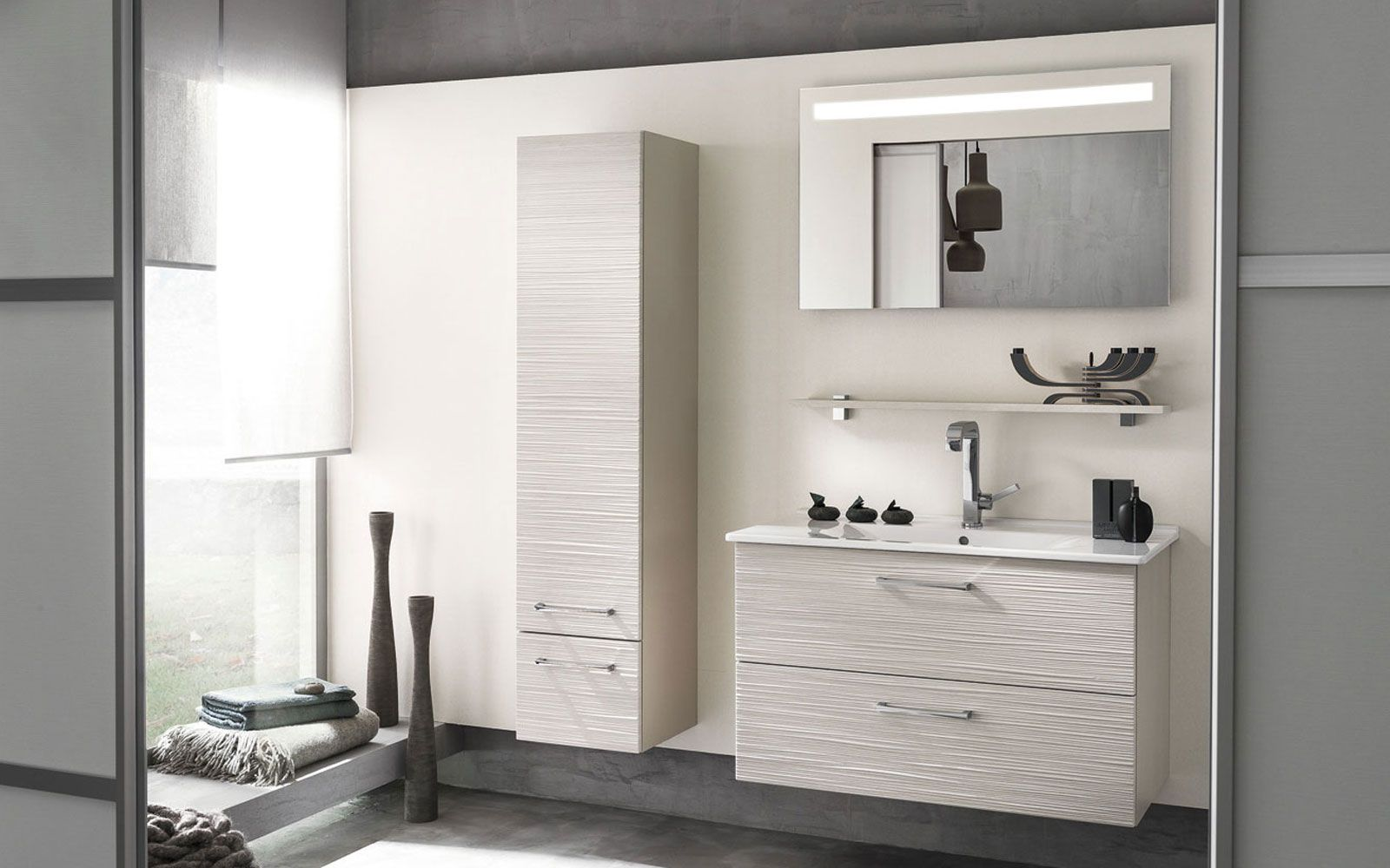 miroir lumi re int gr e meuble sous vasque 2 niveaux de rangement vasque en c ramique blanc. Black Bedroom Furniture Sets. Home Design Ideas