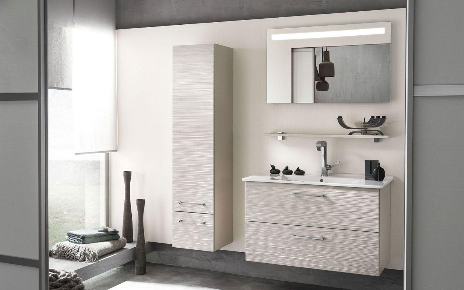 Meuble Haut Salle De Bain Avec Miroir miroir lumière intégrée, meuble sous-vasque 2 niveaux de