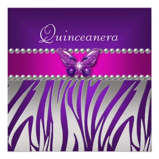 Quinceanera Purple Pink Zebra Silver Butterfly Custom Announcement
