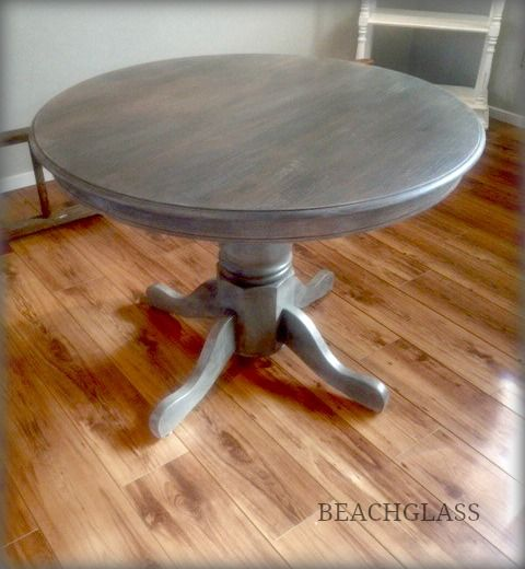 Round Oak Table Dry Brushed In Oxford Twig Linen By Vintage