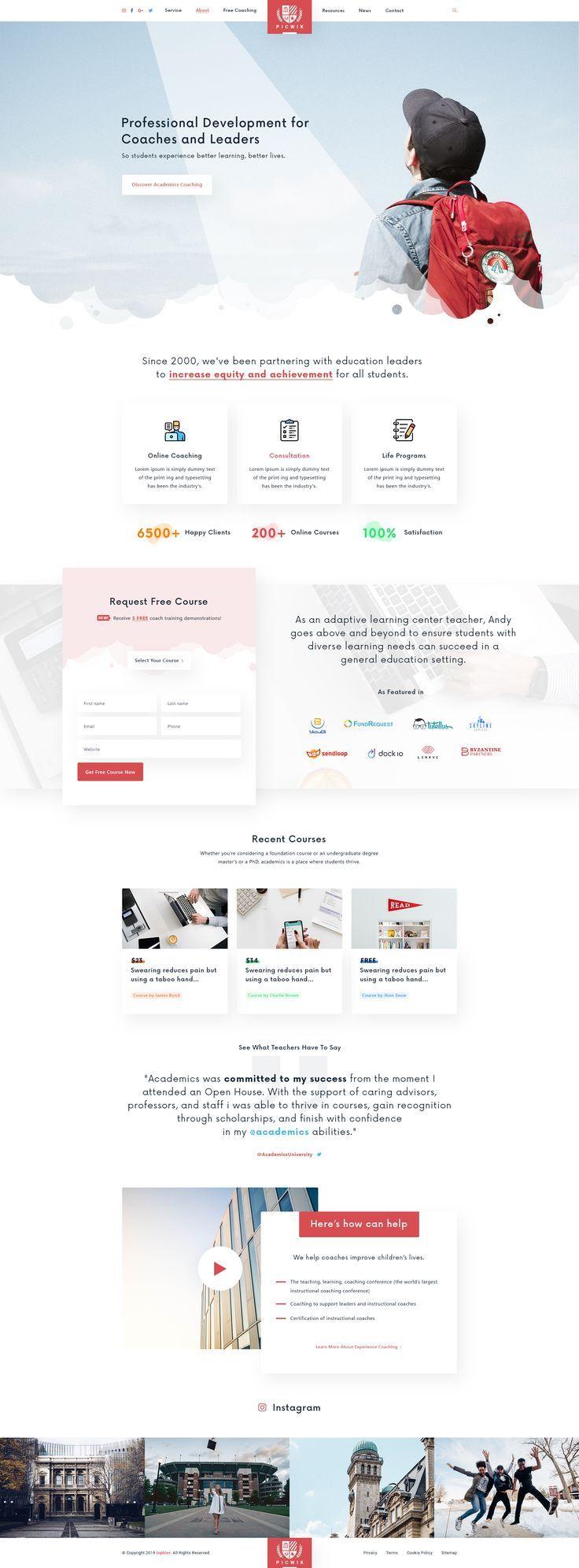 Picwik University Education Landing Page In 2020 University Website Identity Design Logo Online Web Design