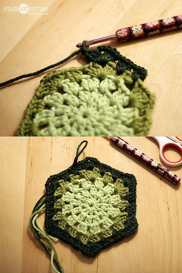 How to crochet a granny hexagon   crocheting   Pinterest   Ganchillo ...