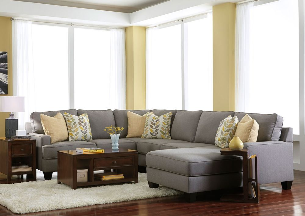 Malcolm 4pcs Modern Gray Microfiber Sofa Couch Chaise Sectional