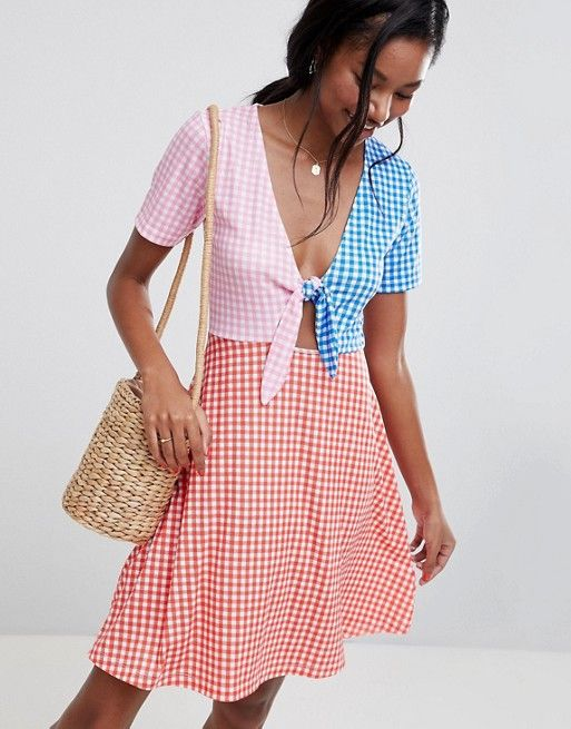 b7ffcfd2c38 DESIGN mini skater sundress with tie front in color block Gingham