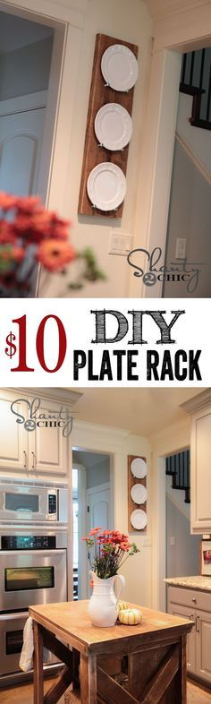 Info's : Super cute and easy DIY Plate Rack! Cheap too! LOVE. Would be perfect for seasonal dishes as well for decor!