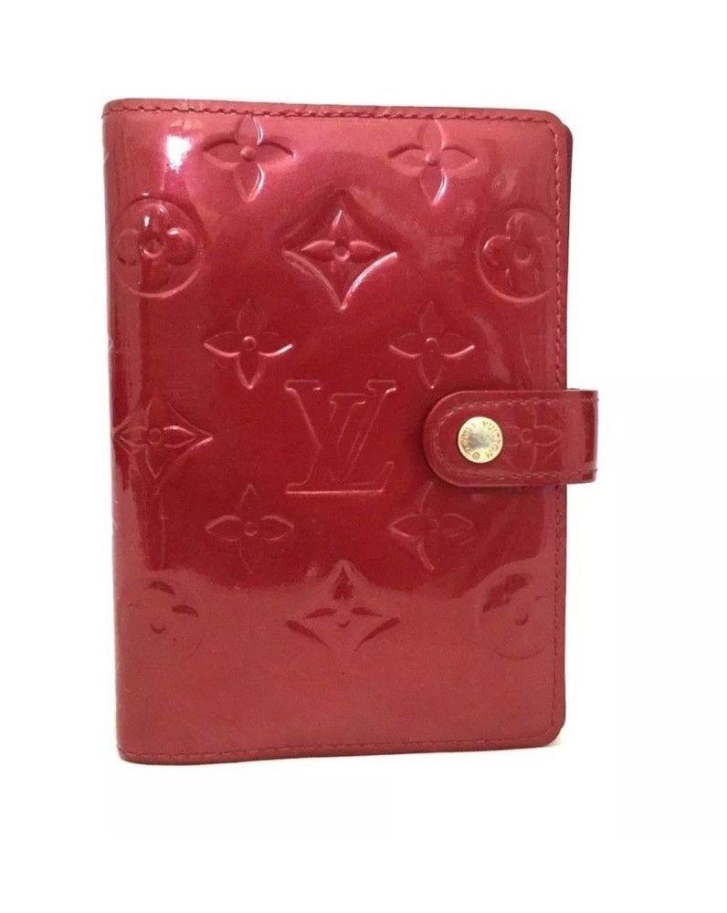 89dbeec8ba28 Louis Vuitton Monogram Red Patent Leather Vernis Agenda PM Notebook Diary  Cover  LouisVuitton