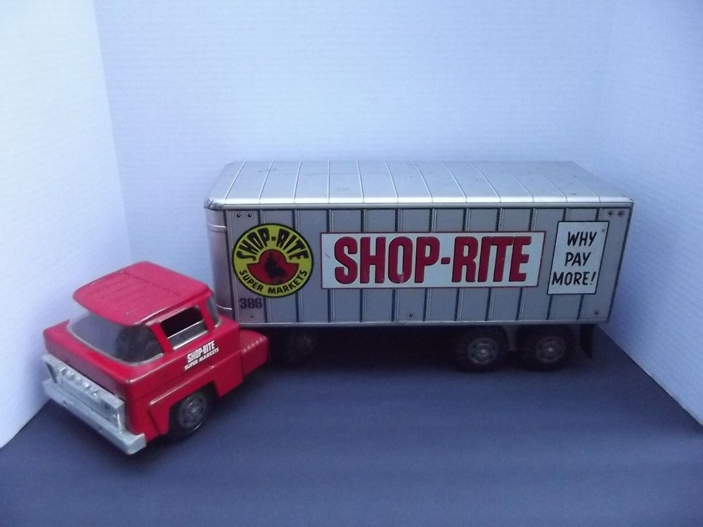 Trat Er Toy : Vintage marx pressed steel shop rite tractor trailer semi