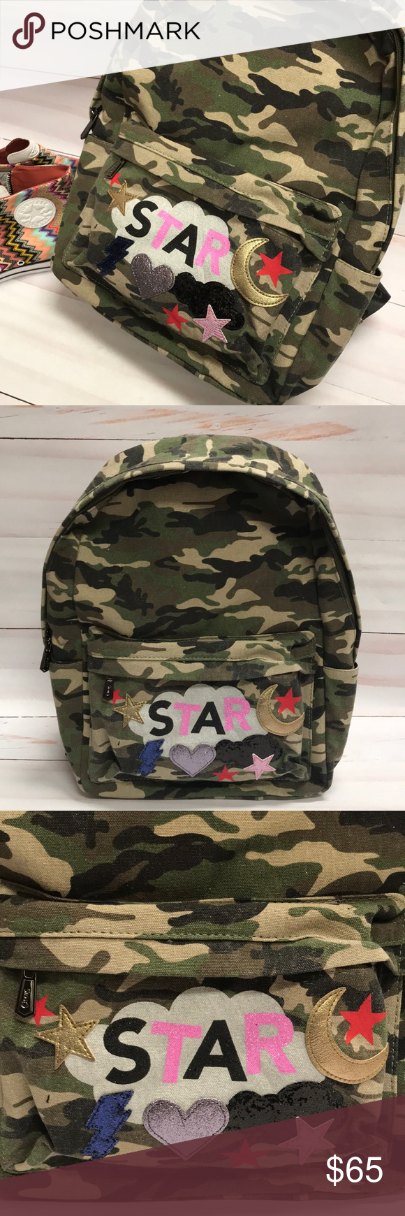 """2c6c13ea3483 Circus By Sam Edelman Backpack Camo Stars Graphics Circus By Sam Edelman  camouflage backpack with glitter graphics new with tags. The backpack  measures 15"""" ..."""