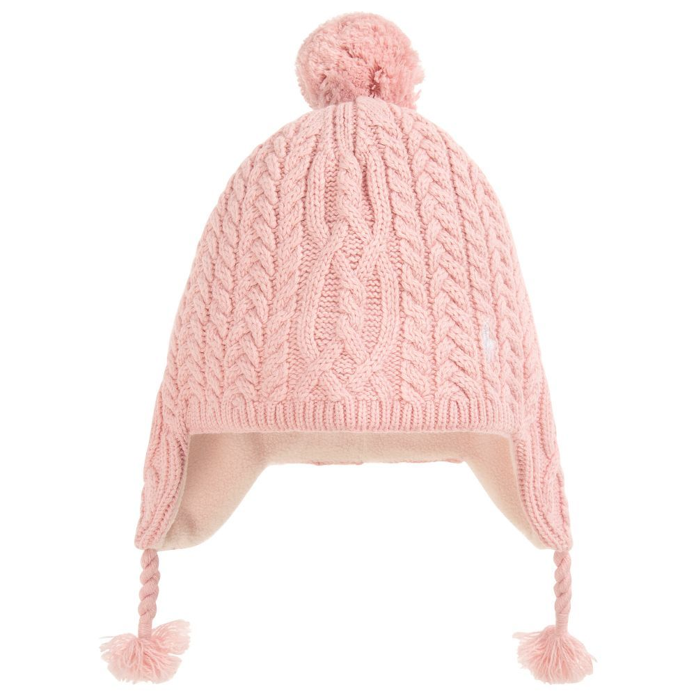 55b6fd43 Girls Pink Wool Knit Hat for Girl by Polo Ralph Lauren. Discover ...