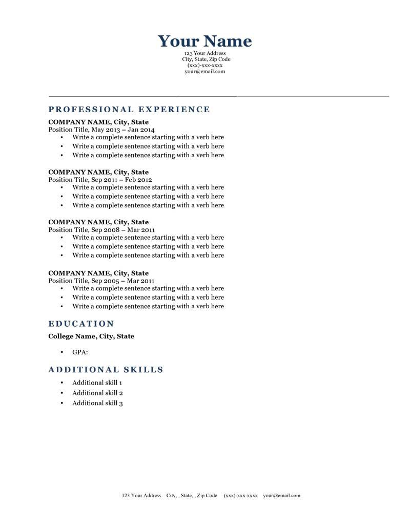 Superb Classic Dark Blue Free Downloadable Resume Template