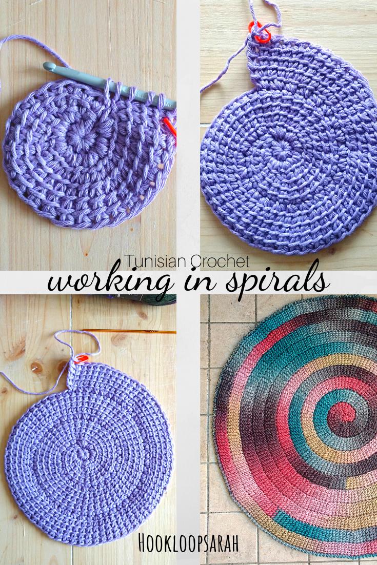 Crochet en spirale tunisien, travaillant en tours en spirale   – Entrelac