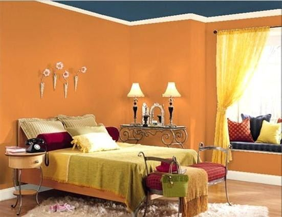 orange bedroom wall paint color with blue ceiling | Bedroom ...