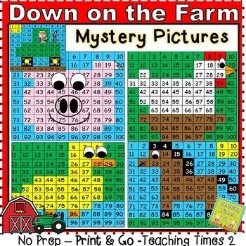 Hundreds Chart Mystery Picture 41: Farm Animals Hundreds Chart Hidden Pictures | Hidden pictures ,Chart