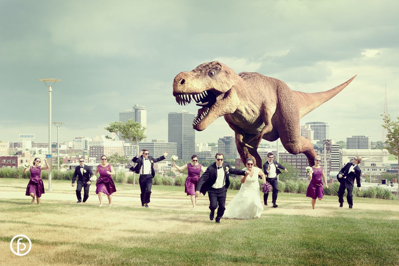 dinosaur chasing wedding party in kansas city haha Kansas City