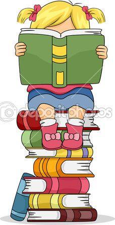 Niña Niño Leyendo Un Libro Sentado En La Pila De Libros Imagen De